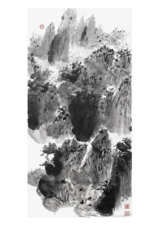 LA CHIAMATA DEL CUORE 11 inchiostro su carta fatta a mano 69x137cm
