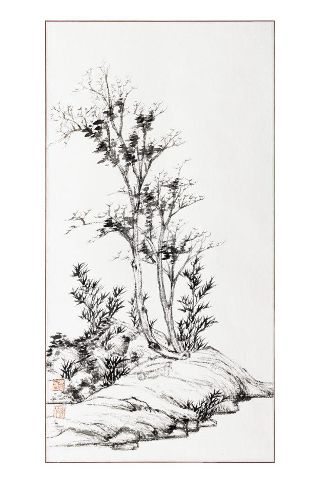 ORIGINI 2 inchiostro su carta fatta a mano 28.5x55.5cm
