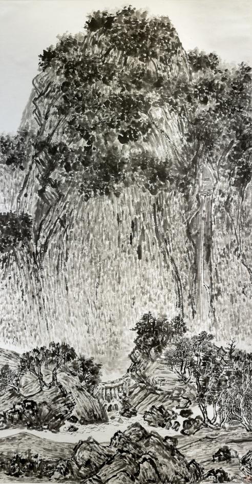 临溪山行旅图 97cm×180cm